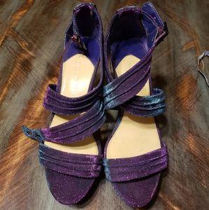 Gianni bini metallic blue and purple sparkle heels